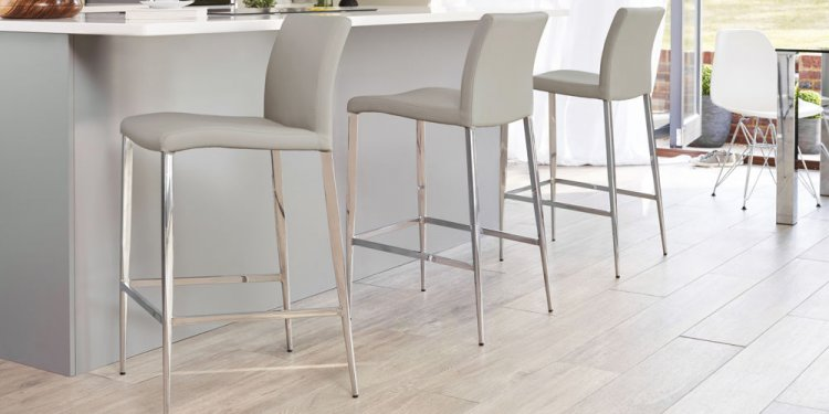 Light grey bar stools with a